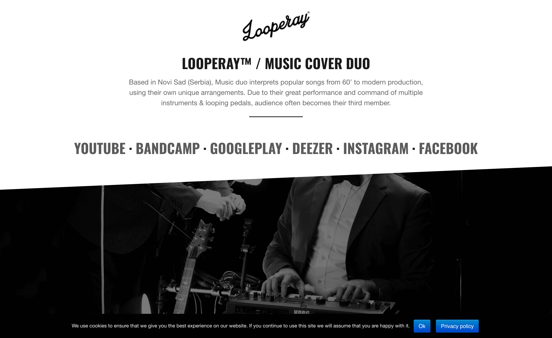 "A website for a musical bend ""Looperay"", Novi Sad"
